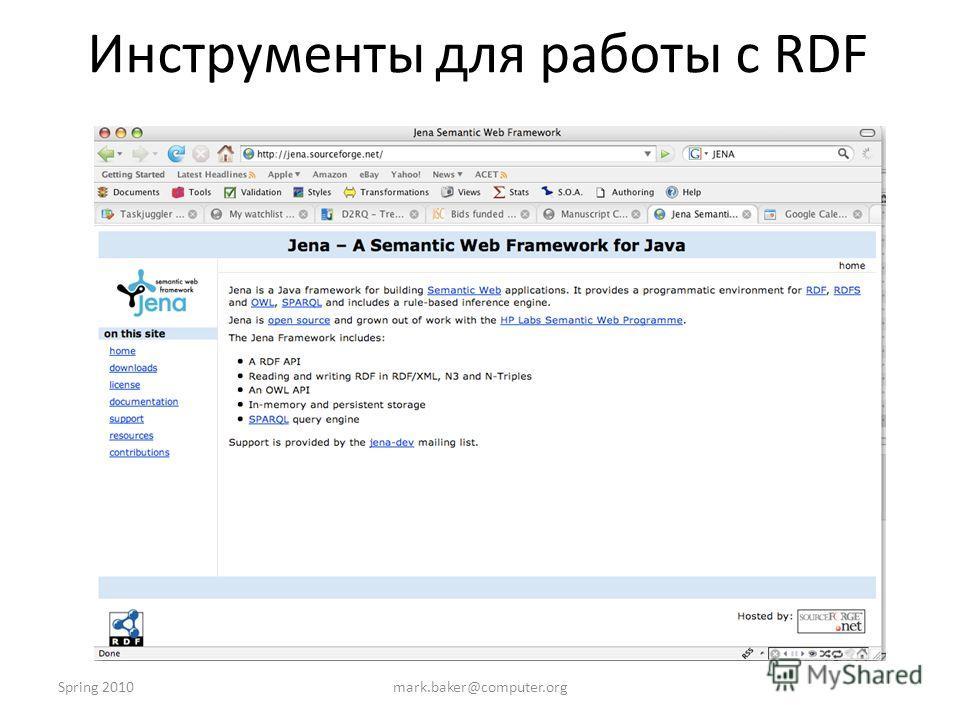 Spring 2010mark.baker@computer.org Инструменты для работы с RDF