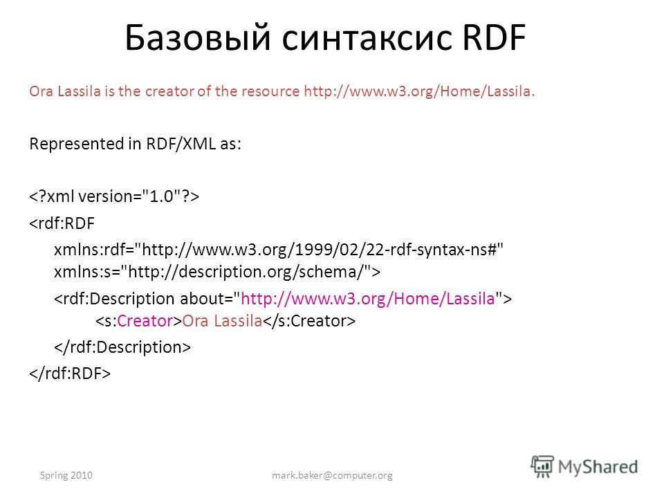 Spring 2010mark.baker@computer.org Базовый синтаксис RDF Ora Lassila is the creator of the resource http://www.w3.org/Home/Lassila. Represented in RDF/XML as:  Ora Lassila