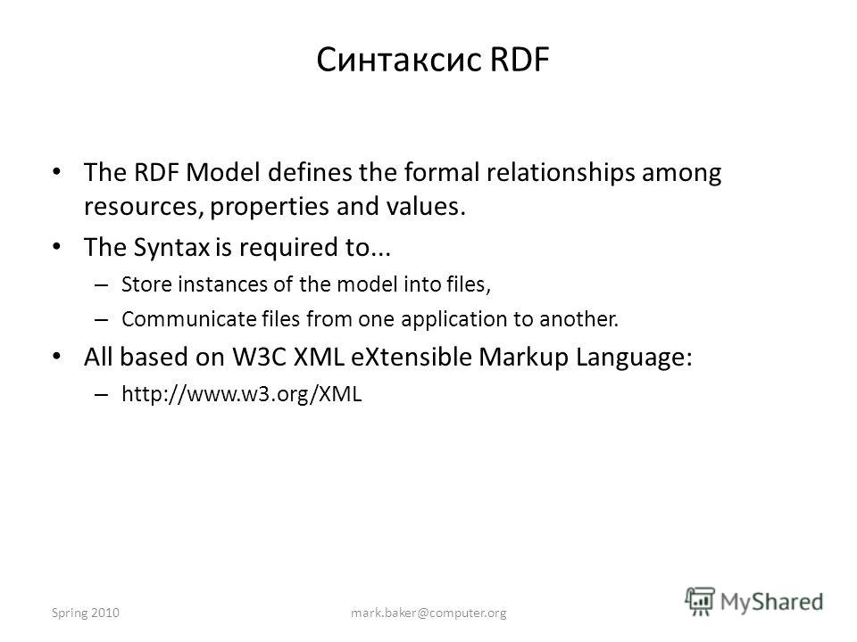 Spring 2010mark.baker@computer.org Синтаксис RDF The RDF Model defines the formal relationships among resources, properties and values. The Syntax is required to... – Store instances of the model into files, – Communicate files from one application t