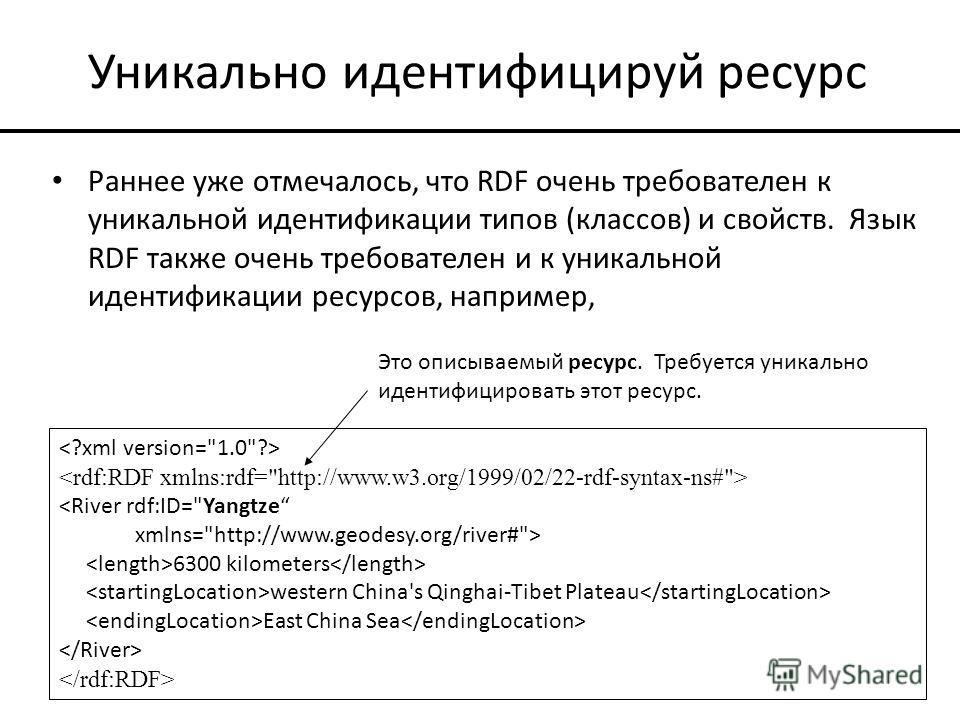 Уникально идентифицируй ресурс Раннее уже отмечалось, что RDF очень требователен к уникальной идентификации типов (классов) и свойств. Язык RDF также очень требователен и к уникальной идентификации ресурсов, например,