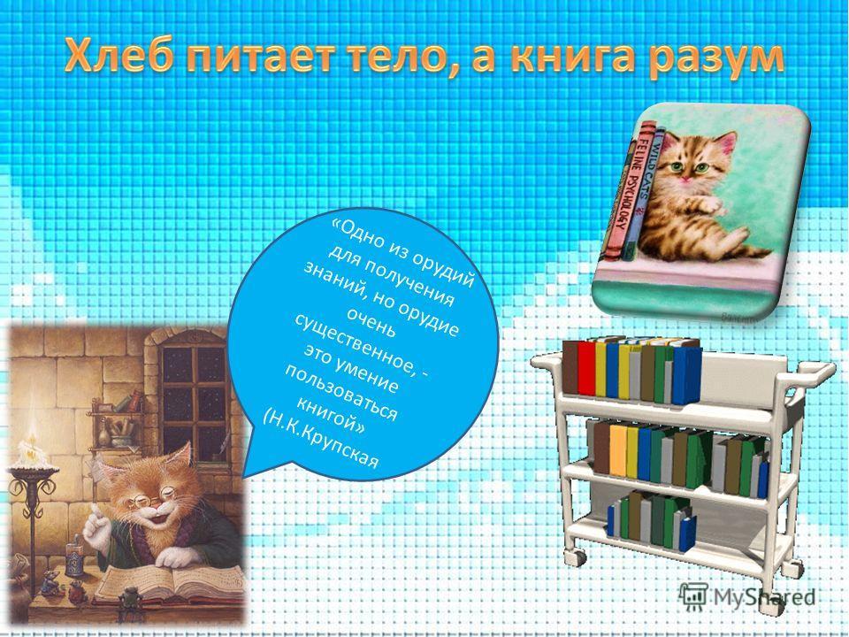 «Одно из орудий для получения знаний, но орудие очень существенное, - это умение пользоваться книгой» (Н.К.Крупская