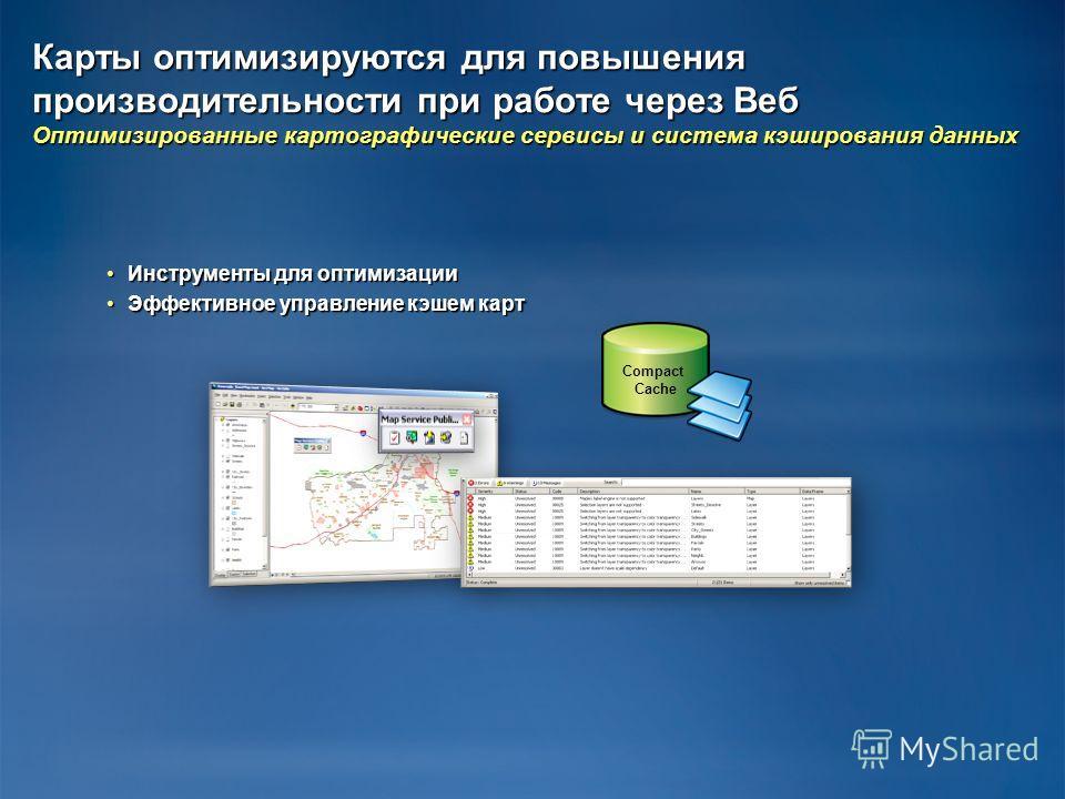 Карты оптимизируются для повышения производительности при работе через Веб Оптимизированные картографические сервисы и система кэширования данных Инструменты для оптимизации Инструменты для оптимизации Эффективное управление кэшем карт Эффективное уп