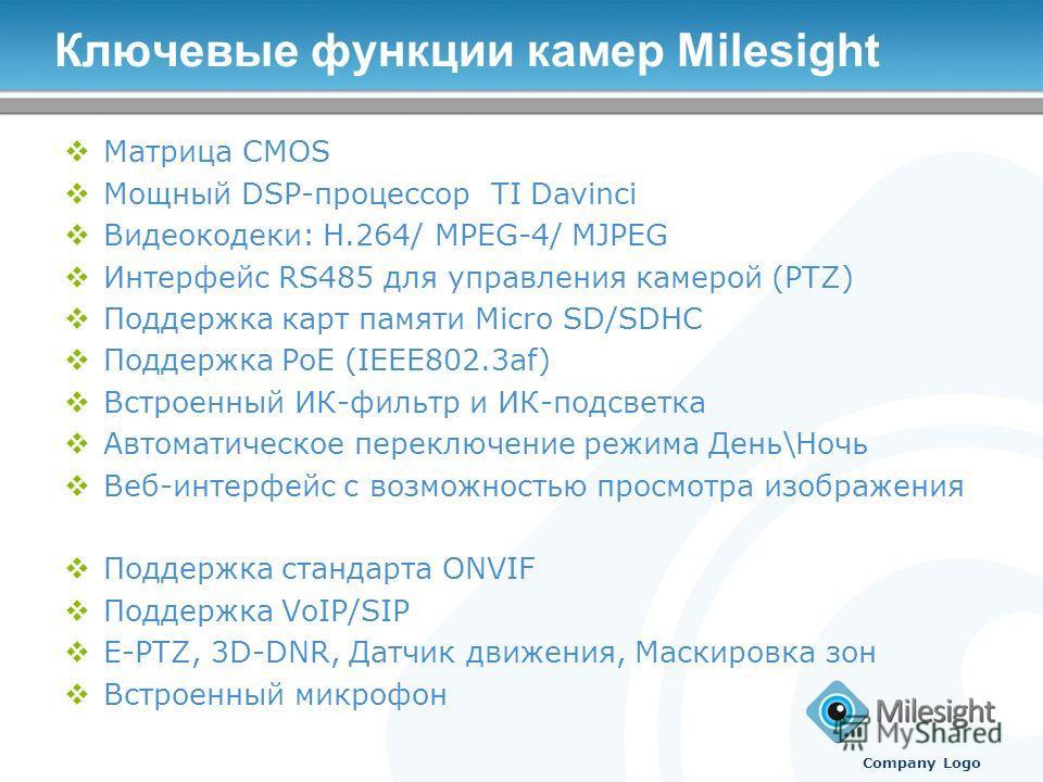 Ключевые функции камер Milesight Матрица CMOS Мощный DSP-процессор TI Davinci Видеокодеки: H.264/ MPEG-4/ MJPEG Интерфейс RS485 для управления камерой (PTZ) Поддержка карт памяти Micro SD/SDHC Поддержка PoE (IEEE802.3af) Встроенный ИК-фильтр и ИК-под