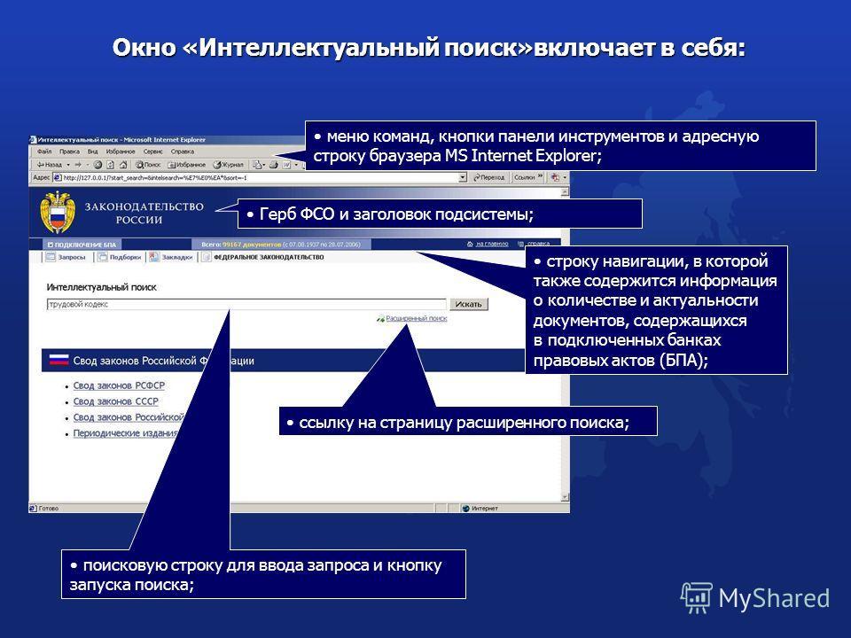 меню команд, кнопки панели инструментов и адресную строку браузера MS Internet Explorer; Окно «Интеллектуальный поиск»включает в себя: Окно «Интеллектуальный поиск»включает в себя: строку навигации, в которой также содержится информация о количестве