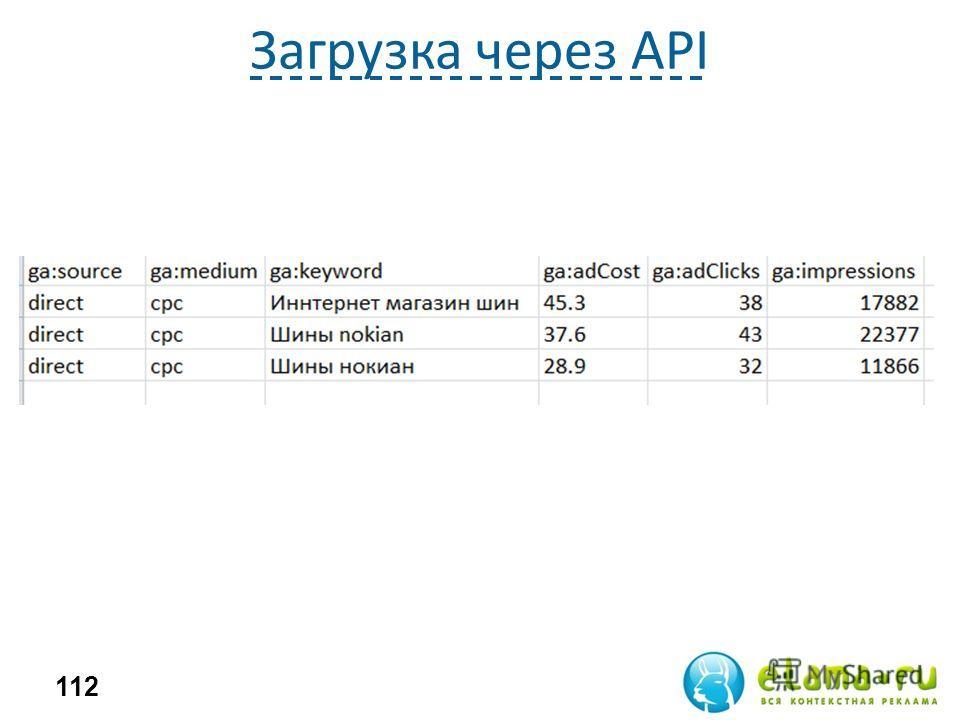 Загрузка через API 112