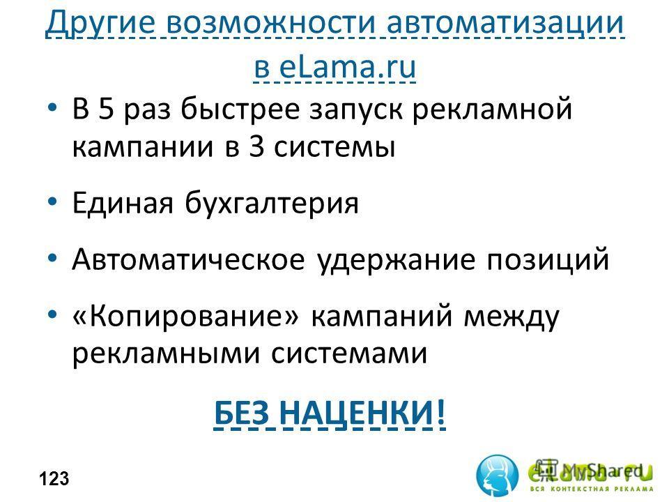 Другие возможности автоматизации в eLama.ru В 5 раз быстрее запуск рекламной кампании в 3 системы Единая бухгалтерия Автоматическое удержание позиций «Копирование» кампаний между рекламными системами 123 БЕЗ НАЦЕНКИ!