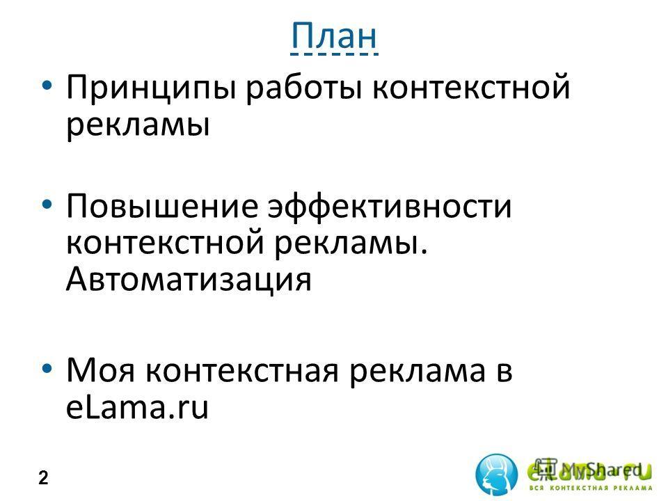 План Принципы работы контекстной рекламы Повышение эффективности контекстной рекламы. Автоматизация Моя контекстная реклама в eLama.ru 2