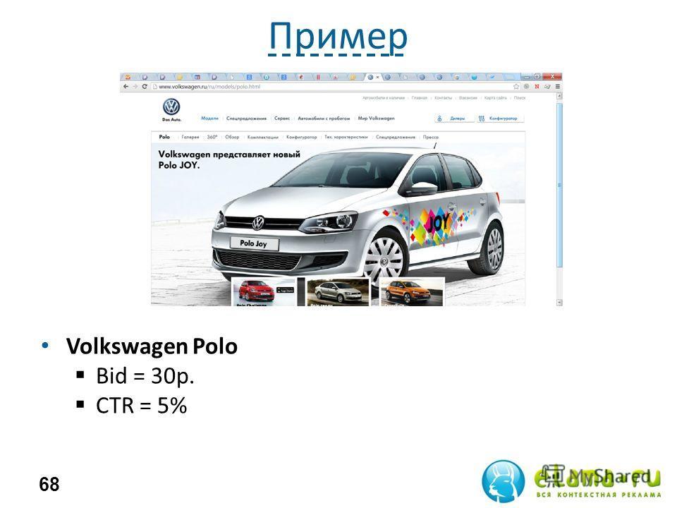 Пример Volkswagen Polo Bid = 30 р. СTR = 5% 68