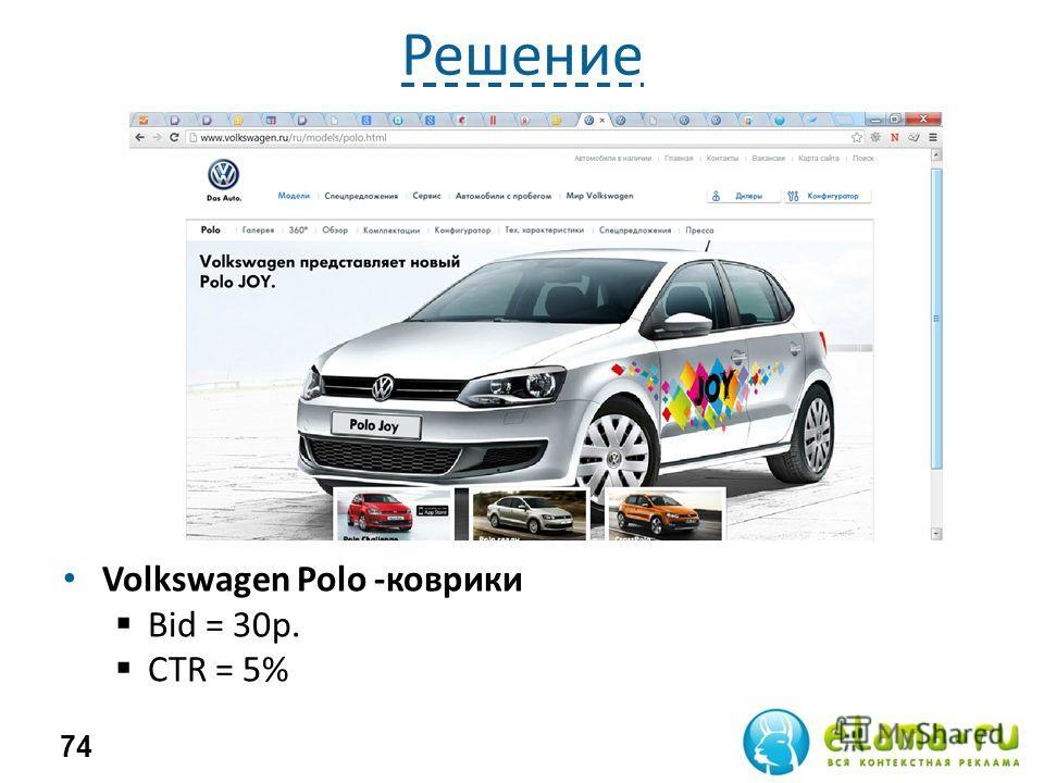 Решение Volkswagen Polo -коврики Bid = 30 р. СTR = 5% 74