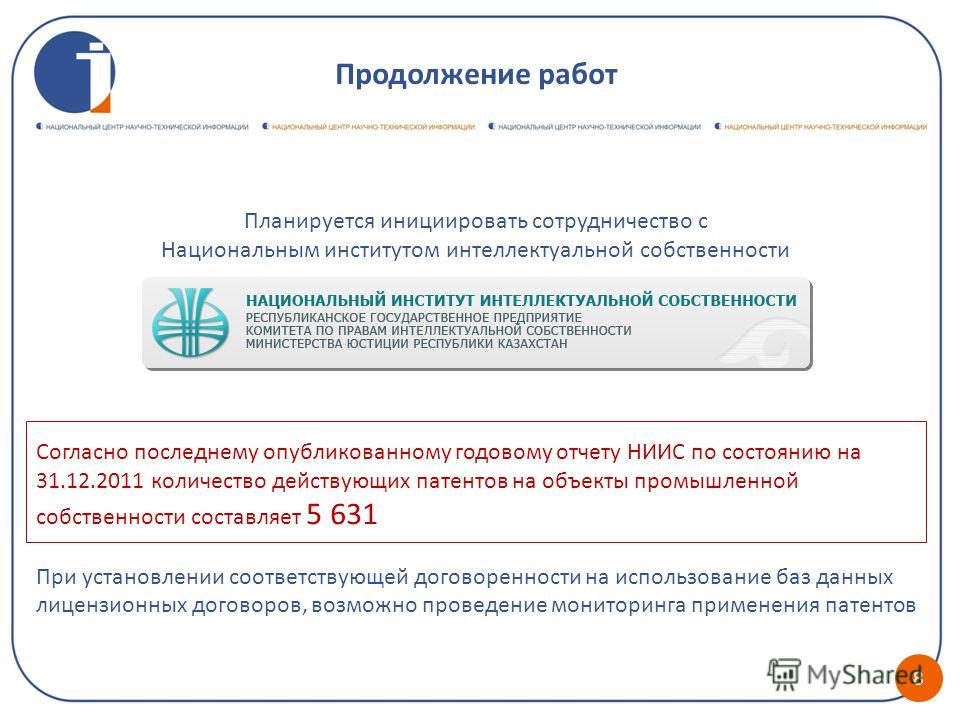 Планируется инициировать сотрудничество с Национальным институтом интеллектуальной собственности Согласно последнему опубликованному годовому отчету НИИС по состоянию на 31.12.2011 количество действующих патентов на объекты промышленной собственности