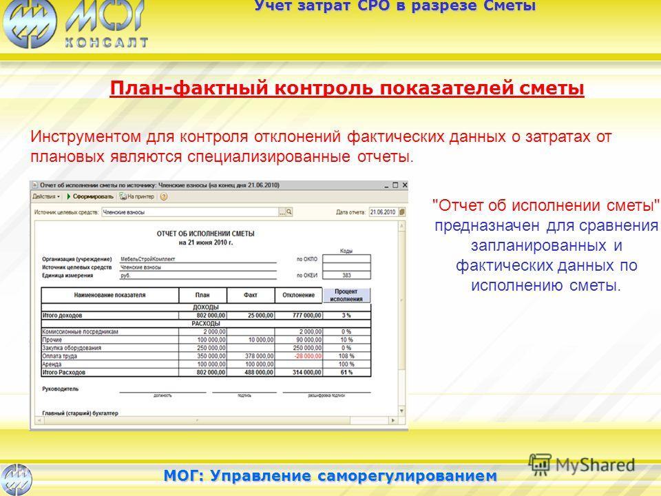 Учет затрат СРО в разрезе Сметы План-фактный контроль показателей сметы