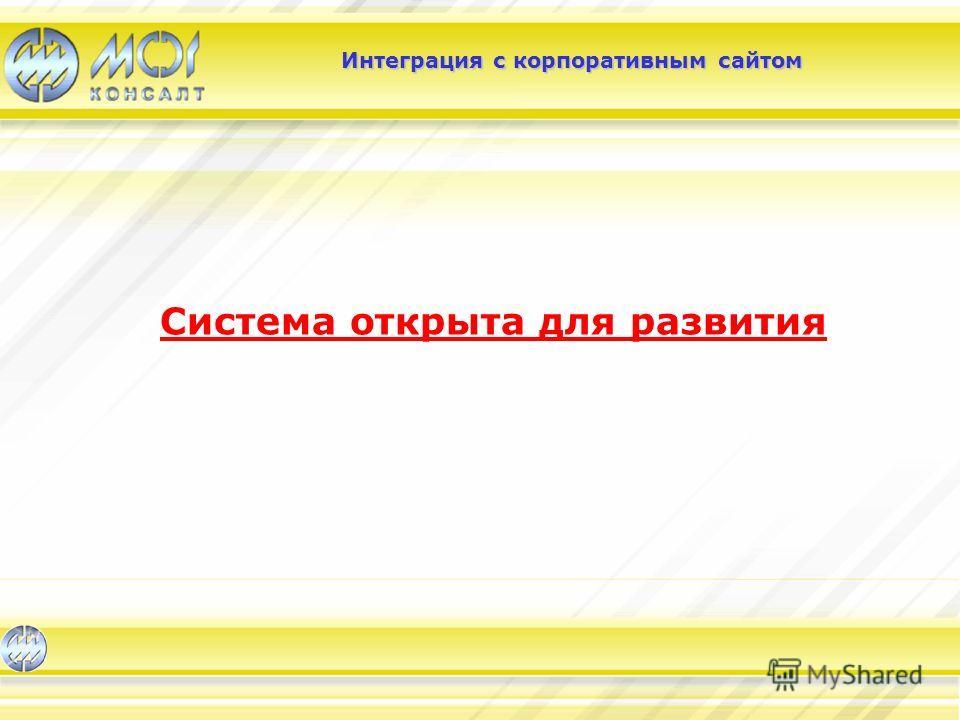 Интеграция с корпоративным сайтом Система открыта для развития
