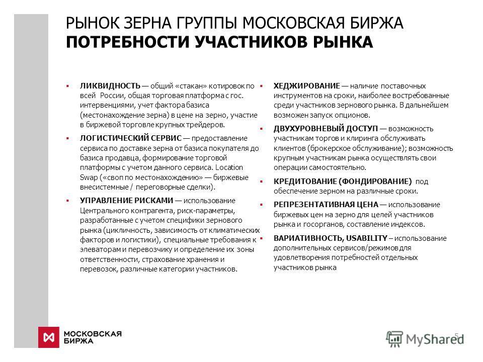 5 ЛИКВИДНОСТЬ общий «стакан» котировок по всей России, общая торговая платформа с гос. интервенциями, учет фактора базиса (местонахождение зерна) в цене на зерно, участие в биржевой торговле крупных трейдеров. ЛОГИСТИЧЕСКИЙ СЕРВИС предоставление серв