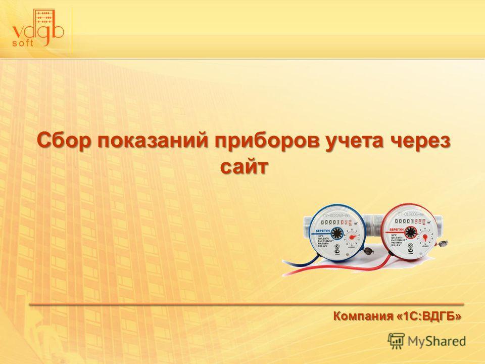 Сбор показаний приборов учета через сайт Компания «1С:ВДГБ»