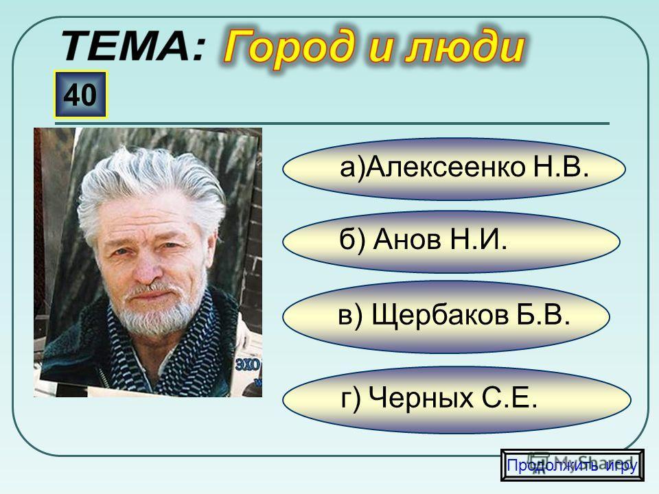 в) Антропов Н. б) Александров Б. а)Паладьев Е. 30 Продолжить игру г) Еремеев В.