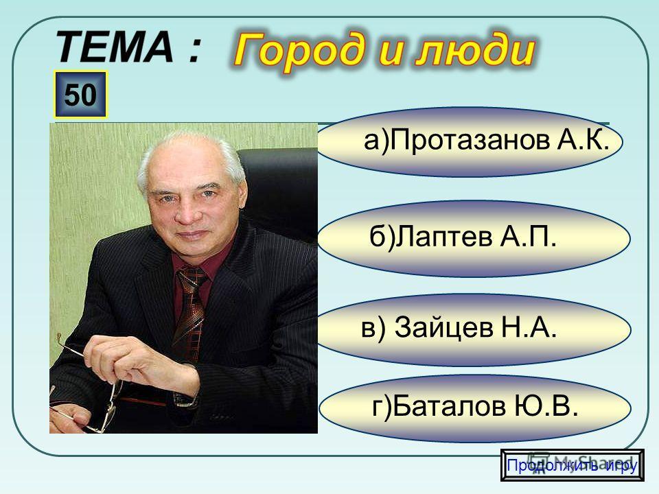 в) Щербаков Б.В. б) Анов Н.И. а)Алексеенко Н.В. 40 Продолжить игру г) Черных С.Е.
