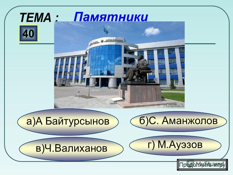 в)Лихарев И.М. б) Петр I а)Костюрин О.Ф. 30 Продолжить игру Памятники г) Ермак