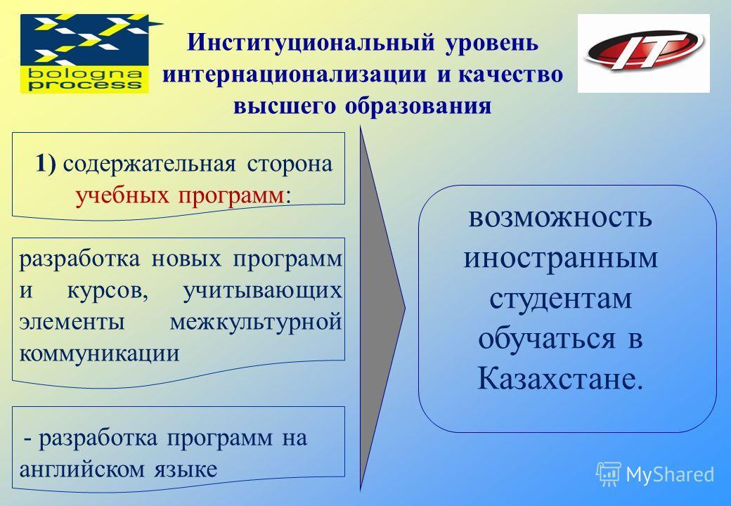 Институциональный уровень интернационализации и качество высшего образования возможность иностранным студентам обучаться в Казахстане. 1) содержательная сторона учебных программ: разработка новых программ и курсов, учитывающих элементы межкультурной