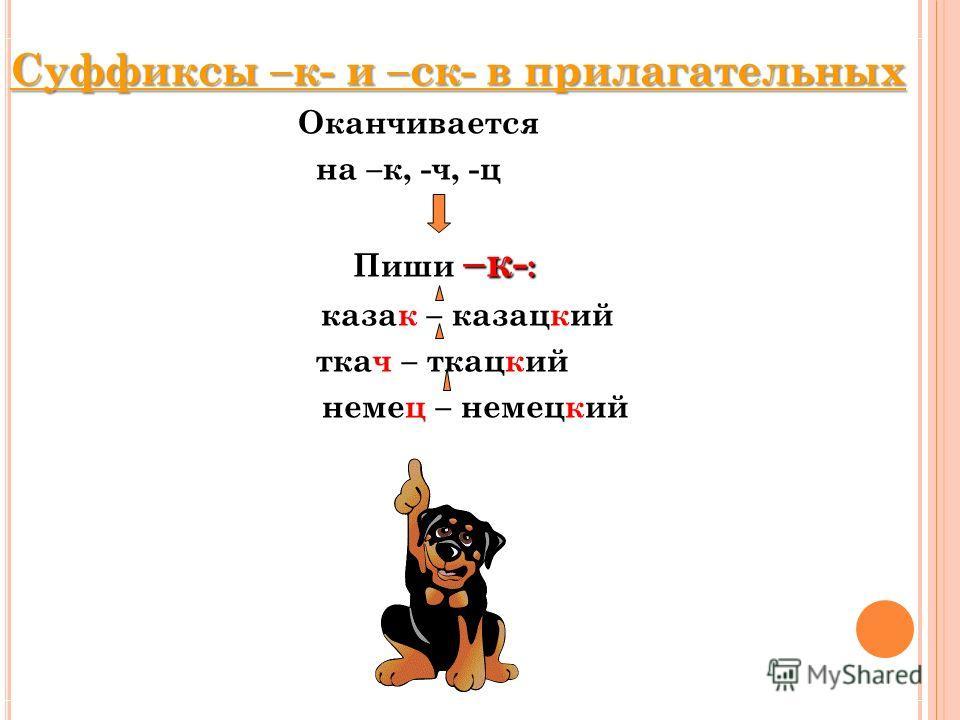 Суффиксы –к- и –ск- в прилагательных Оканчивается на –к, -ч, -ц –к- : Пиши –к- : казак – казацкий ткач – ткацкий немец – немецкий