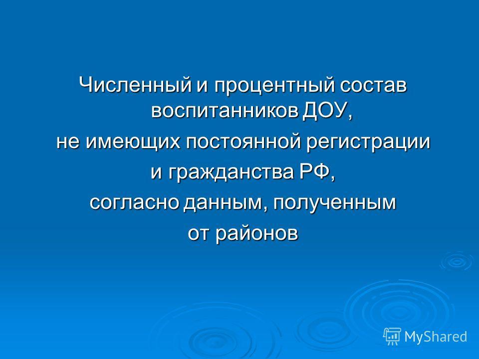 Численный и процентный состав воспитанников ДОУ, не имеющих постоянной регистрации и гражданства РФ, согласно данным, полученным от районов