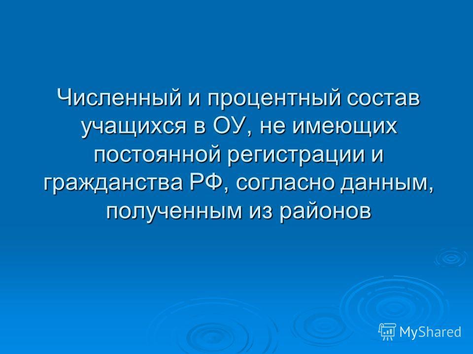 Численный и процентный состав учащихся в ОУ, не имеющих постоянной регистрации и гражданства РФ, согласно данным, полученным из районов