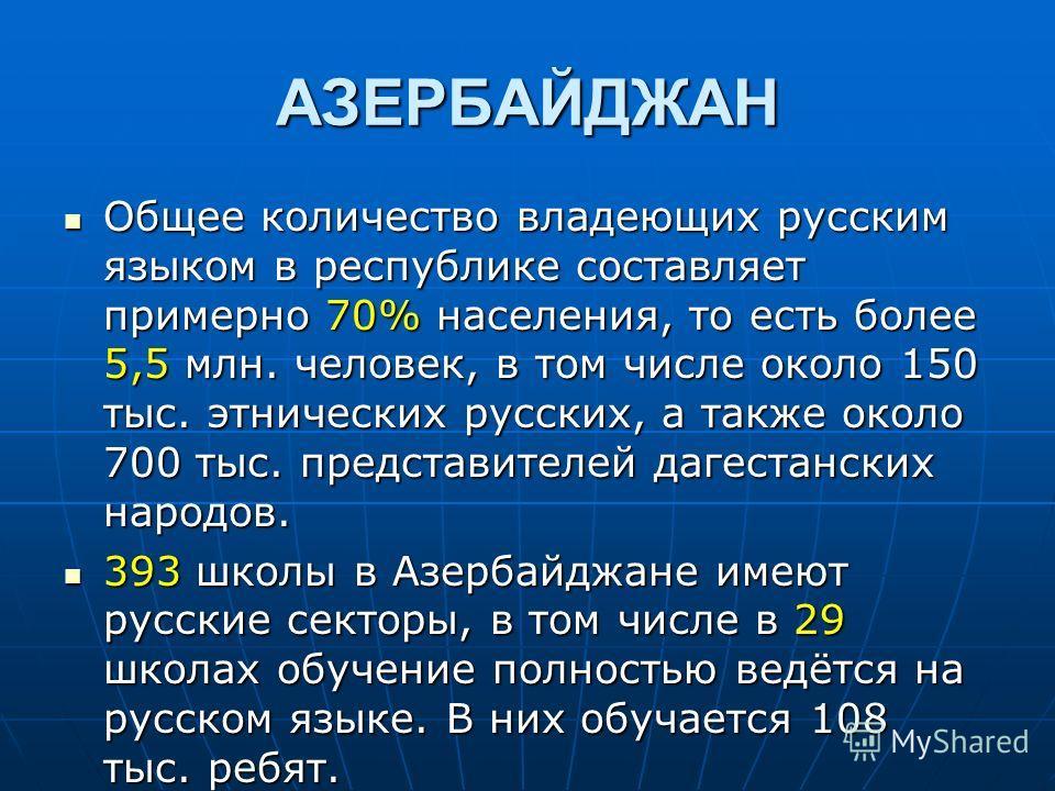 АЗЕРБАЙДЖАН Общее количество владеющих русским языком в республике составляет примерно 70% населения, то есть более 5,5 млн. человек, в том числе около 150 тыс. этнических русских, а также около 700 тыс. представителей дагестанских народов. Общее кол