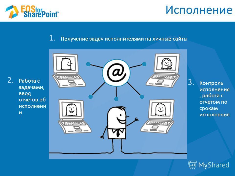 Исполнение 1. Получение задач исполнителями на личные сайты 2. Работа с задачами, ввод отчетов об исполнени и 3. Контроль исполнения, работа с отчетом по срокам исполнения