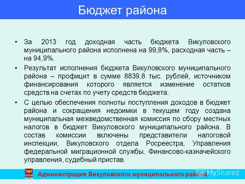 За 2013 год доходная часть бюджета Викуловского муниципального района исполнена на 99,8%, расходная часть – на 94,9%. Результат исполнения бюджета Викуловского муниципального района – профицит в сумме 8839,8 тыс. рублей, источником финансирования кот