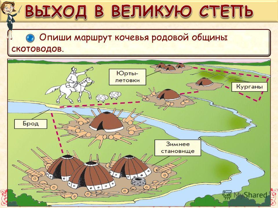 Опиши маршрут кочевья родовой общины скотоводов.