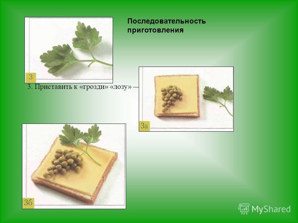 3. Приставить к «грозди» «лозу» веточку петрушки.