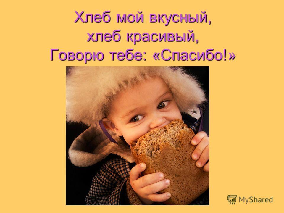 Хлеб мой вкусный, хлеб красивый, Говорю тебе: «Спасибо!»