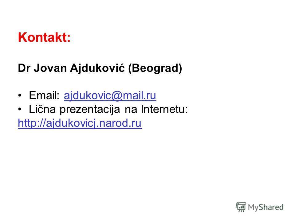 Kontakt: Dr Jovan Ajduković (Beograd) Email: ajdukovic@mail.ruajdukovic@mail.ru Lična prezentacija na Internetu: http://ajdukovicj.narod.ru