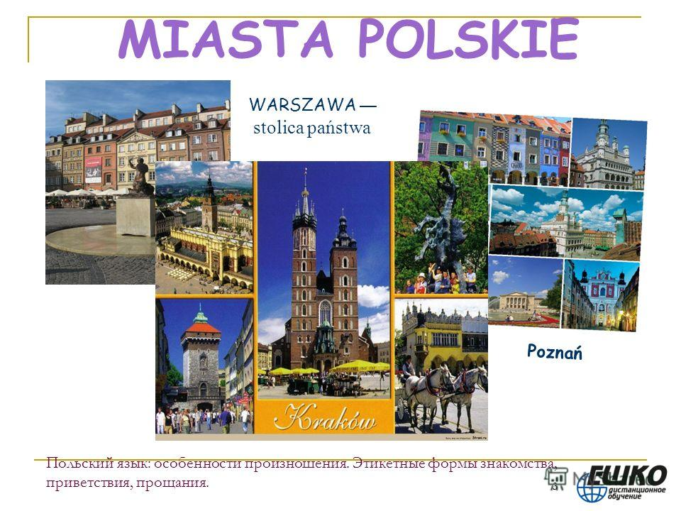 3 Польский язык: особенности произношения. Этикетные формы знакомства, приветствия, прощания. MIASTA POLSKIE WARSZAWA stolica państwa Poznań