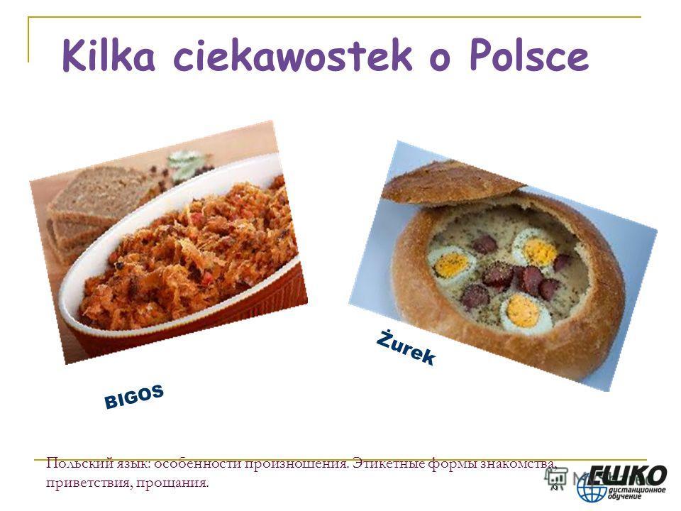 6 Польский язык: особенности произношения. Этикетные формы знакомства, приветствия, прощания. Kilka ciekawostek o Polsce BIGOS Żurek