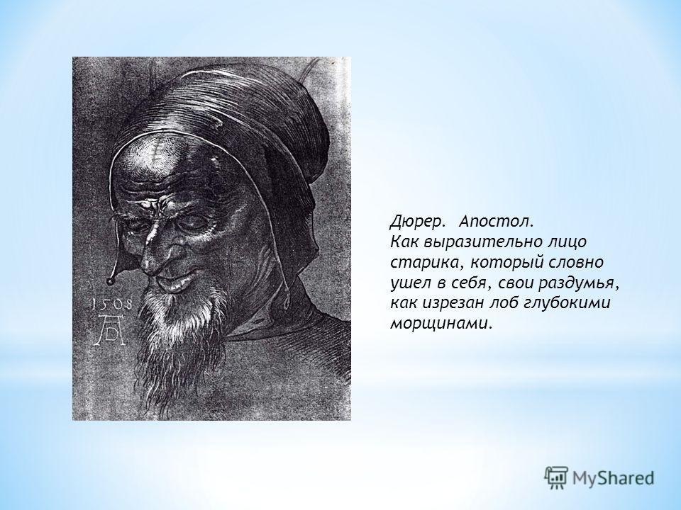 Дюрер. Апостол. Как выразительно лицо старика, который словно ушел в себя, свои раздумья, как изрезан лоб глубокими морщинами.