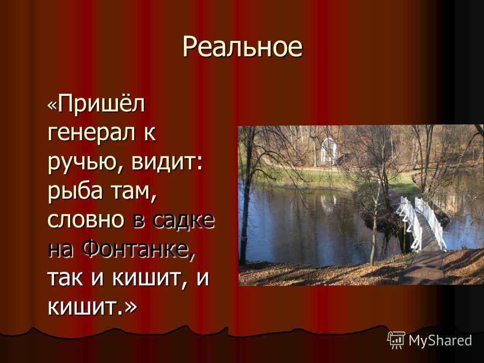 Реальное « Пришёл генерал к ручью, видит: рыба там, словно в садке на Фонтанке, так и кишит, и кишит.» « Пришёл генерал к ручью, видит: рыба там, словно в садке на Фонтанке, так и кишит, и кишит.»