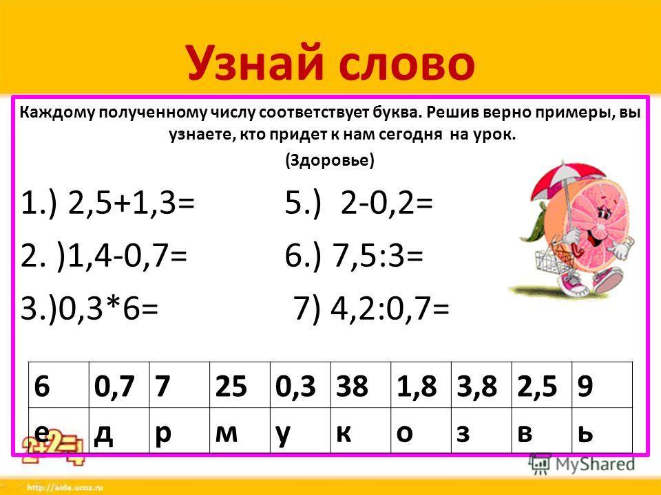 Узнай слово Каждому полученному числу соответствует буква. Решив верно примеры, вы узнаете, кто придет к нам сегодня на урок. (Здоровье) 1.) 2,5+1,3=5.) 2-0,2= 2. )1,4-0,7=6.) 7,5:3= 3.)0,3*6= 7) 4,2:0,7= 60,77250,3381,83,82,59 едрмукозвь