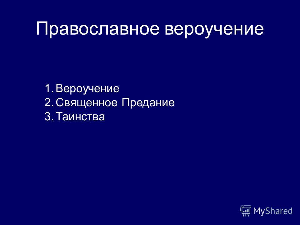 Православное вероучение 1. Вероучение 2. Священное Предание 3.Таинства