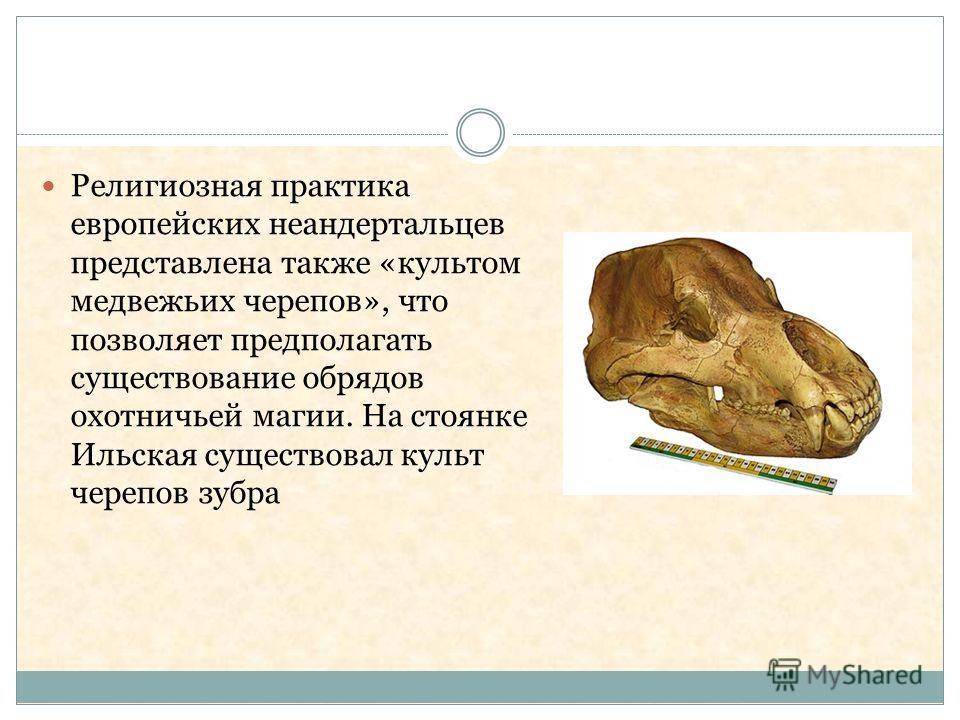Религиозная практика европейских неандертальцев представлена также «культом медвежьих черепов», что позволяет предполагать существование обрядов охотничьей магии. На стоянке Ильская существовал культ черепов зубра
