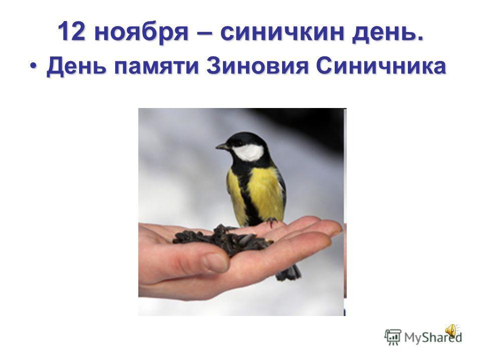 12 ноября – синичкин день. День памяти Зиновия Синичника День памяти Зиновия Синичника