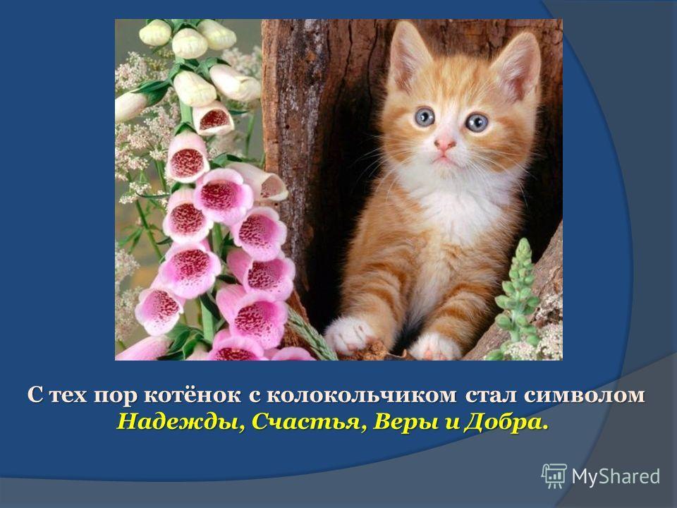 С тех пор котёнок с колокольчиком стал символом Надежды, Счастья, Веры и Добра. С тех пор котёнок с колокольчиком стал символом Надежды, Счастья, Веры и Добра.