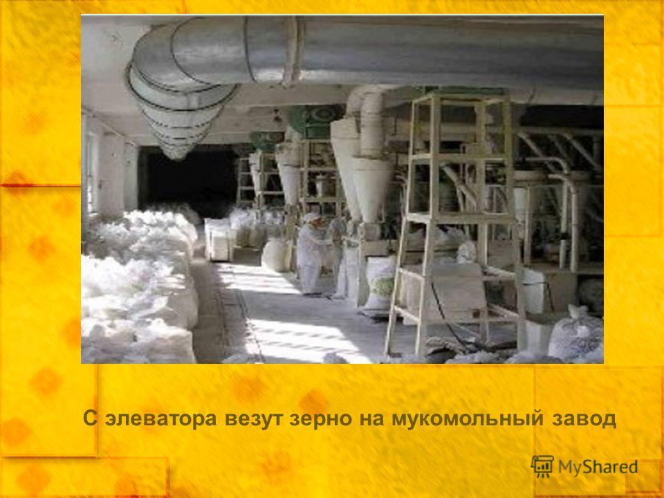 С элеватора везут зерно на мукомольный завод