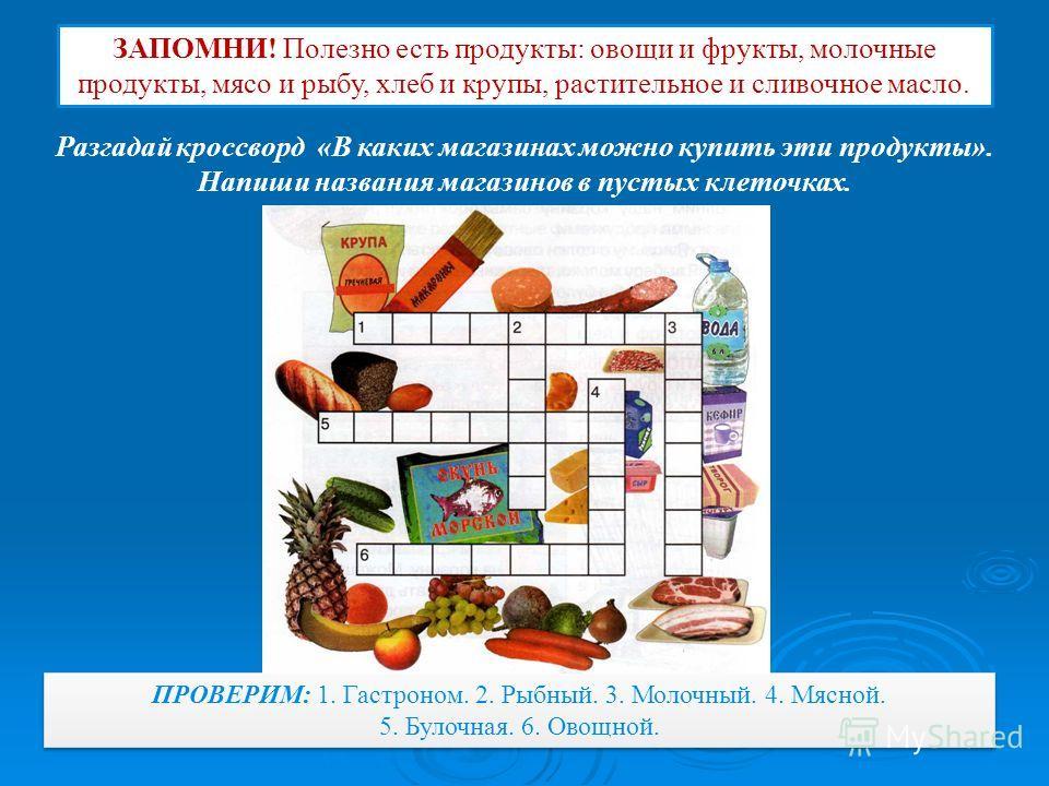ЗАПОМНИ! Полезно есть продукты: овощи и фрукты, молочные продукты, мясо и рыбу, хлеб и крупы, растительное и сливочное масло. Разгадай кроссворд «В каких магазинах можно купить эти продукты». Напиши названия магазинов в пустых клеточках. ПРОВЕРИМ: 1.