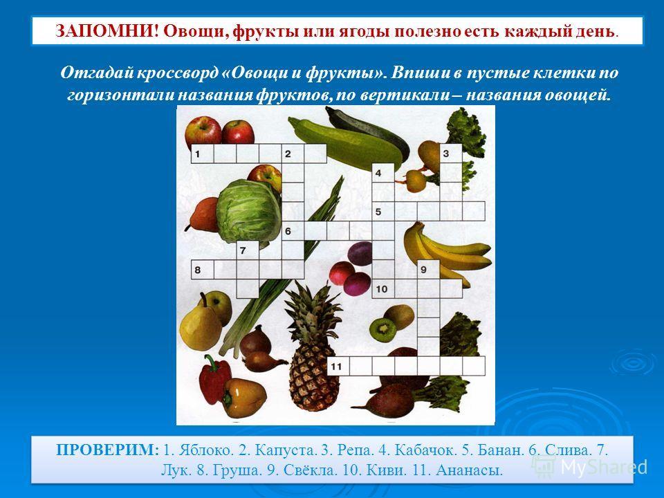 ЗАПОМНИ! Овощи, фрукты или ягоды полезно есть каждый день. Отгадай кроссворд «Овощи и фрукты». Впиши в пустые клетки по горизонтали названия фруктов, по вертикали – названия овощей. ПРОВЕРИМ: 1. Яблоко. 2. Капуста. 3. Репа. 4. Кабачок. 5. Банан. 6. С