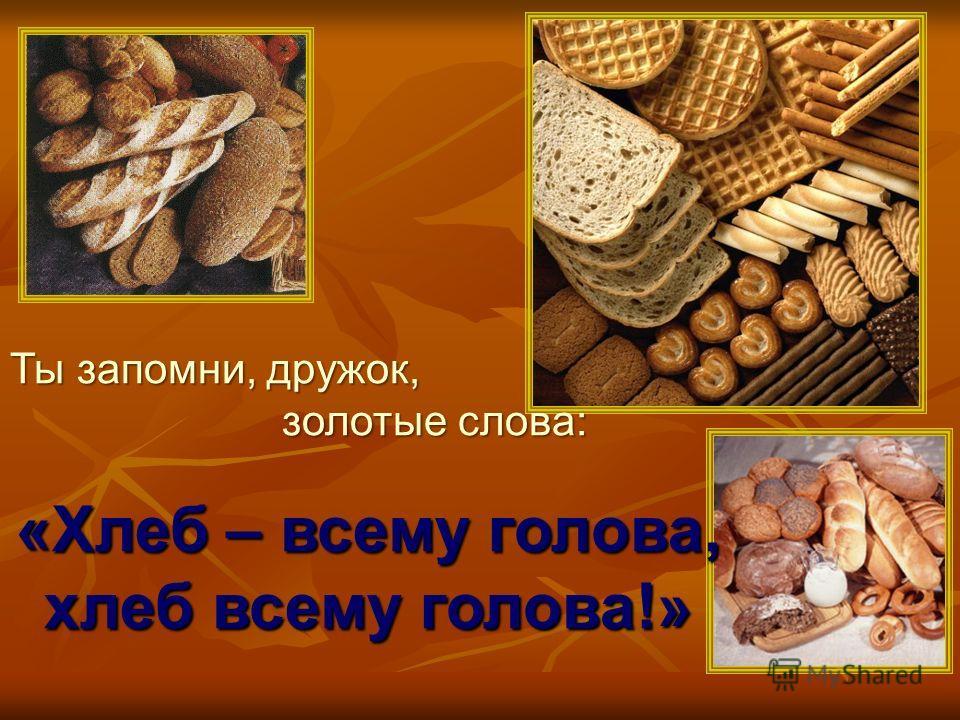 Ты запомни, дружок, золотые слова: золотые слова: «Хлеб – всему голова, хлеб всему голова!»