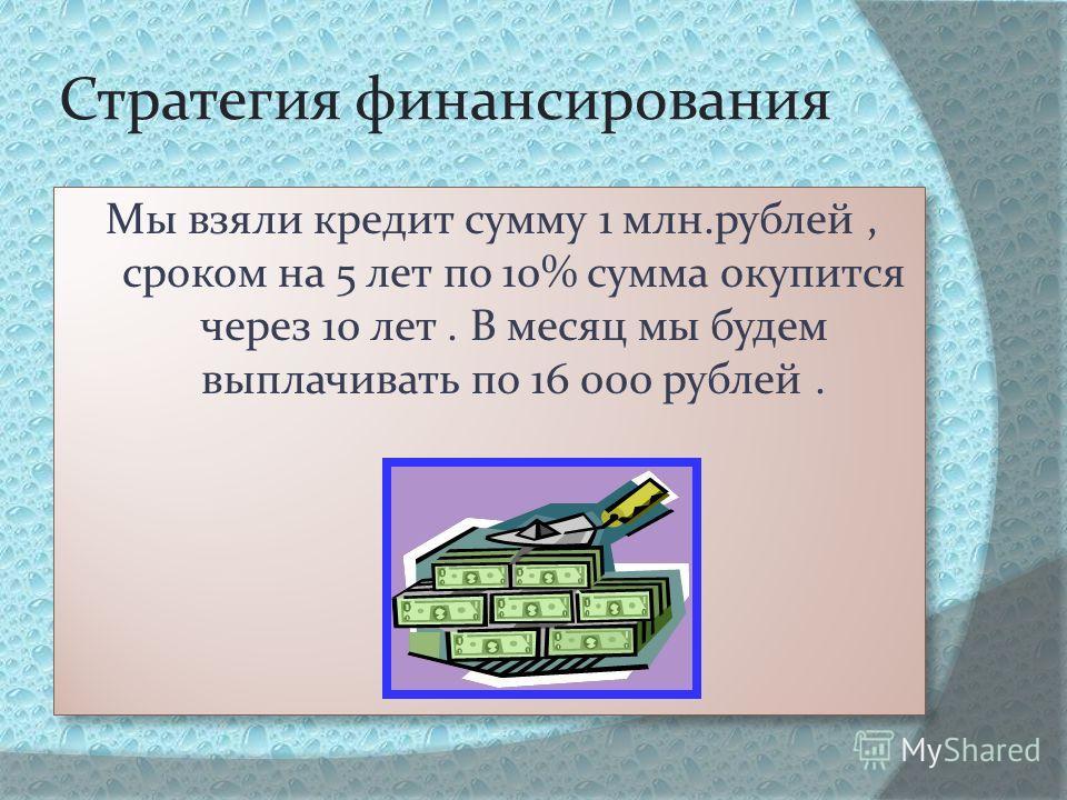 Стратегия финансирования Мы взяли кредит сумму 1 млн.рублей, сроком на 5 лет по 10% сумма окупится через 10 лет. В месяц мы будем выплачивать по 16 000 рублей.