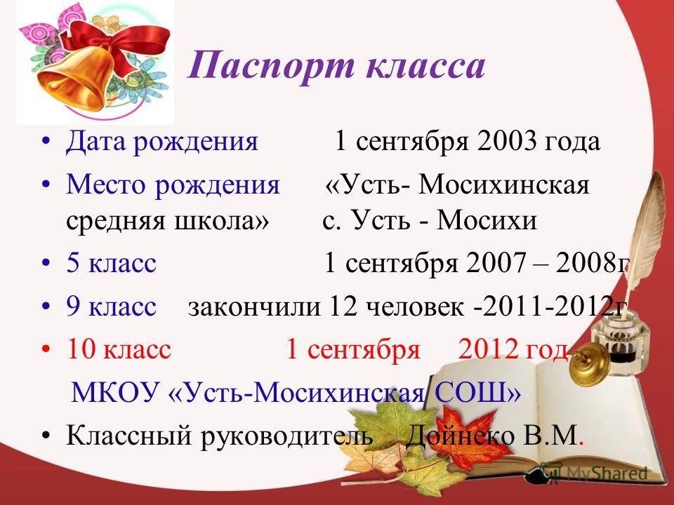 Паспорт класса Дата рождения 1 сентября 2003 года Место рождения «Усть- Мосихинская средняя школа» с. Усть - Мосихи 5 класс 1 сентября 2007 – 2008 г 9 класс закончили 12 человек -2011-2012 г 10 класс 1 сентября 2012 год МКОУ «Усть-Мосихинская СОШ» Кл