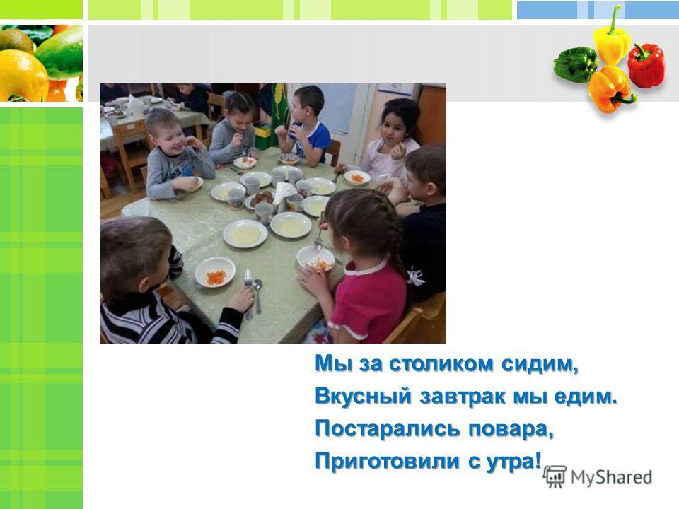 Click to add Text Мы за столиком сидим, Вкусный завтрак мы едим. Постарались повара, Приготовили с утра!