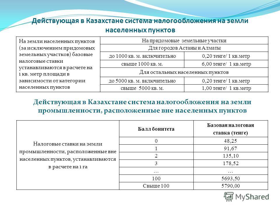 Действующая в Казахстане система налогообложения на земли населенных пунктов На земли населенных пунктов (за исключением придомовых земельных участков) базовые налоговые ставки устанавливаются в расчете на 1 кв. метр площади в зависимости от категори