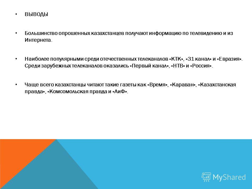 ВЫВОДЫ Большинство опрошенных казахстанцев получают информацию по телевидению и из Интернета. Наиболее популярными среди отечественных телеканалов «КТК», «31 канал» и «Евразия». Среди зарубежных телеканалов оказались «Первый канал», «НТВ» и «Россия».